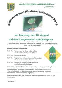 Einladung zum Kinderschützenfest 2016