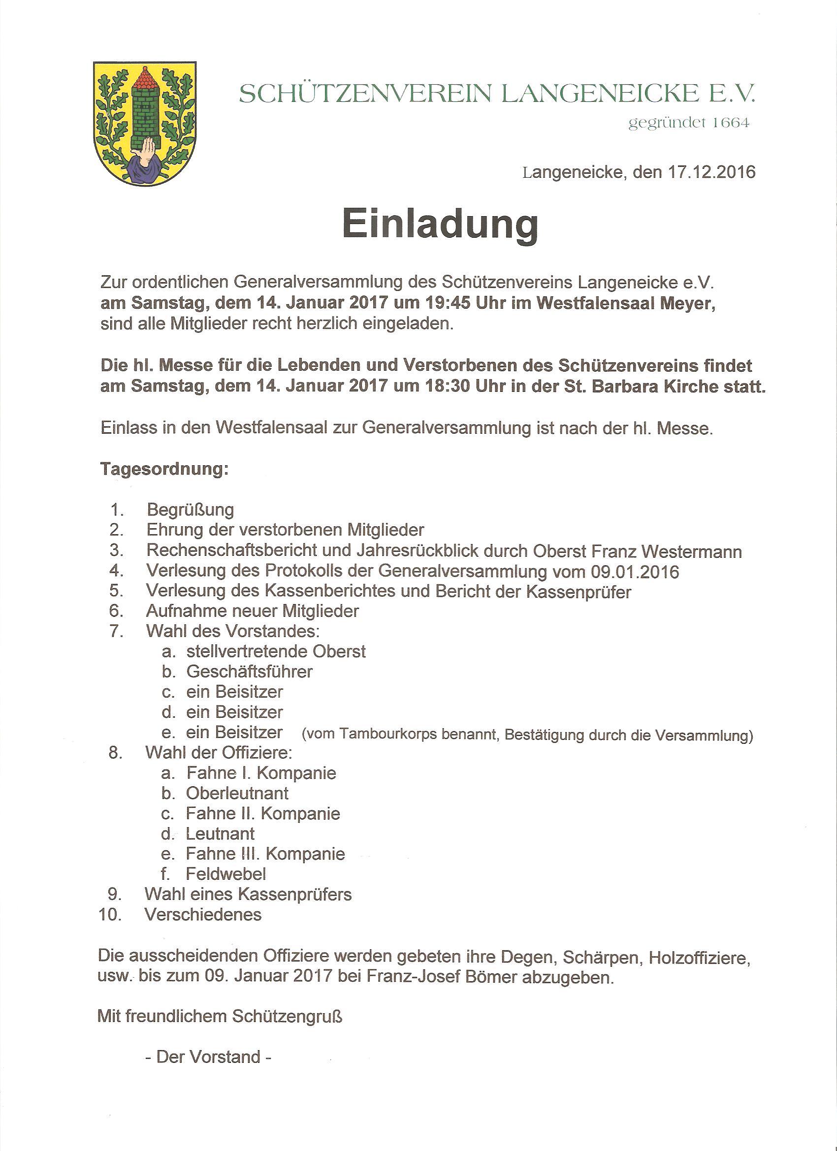 einladung zur generalversammlung des schützenvereins am samstag, Einladung